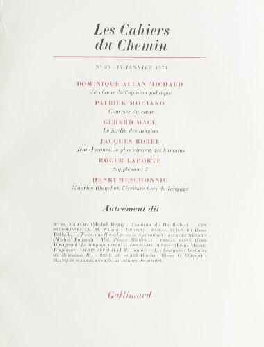 Les Cahiers du chemin, numéro 20, 15 janvier 1974 par Collectif