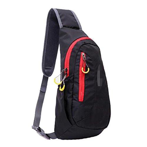 Unisex-Licht Praktische Outdoor-Sport Brusttasche Journey Sling Rucksack Multicolor Black