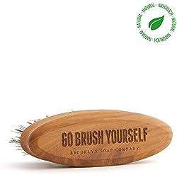 Bartpflege-Set: Beard Brush ✔ Bartbürste ✔ Naturkosmetik der BROOKLYN SOAP COMPANY vegane Borsten - Geschenkidee als Geschenk für Männer - Bartstyling für 3-Tage-Bart, Vollbart für den modernen Mann