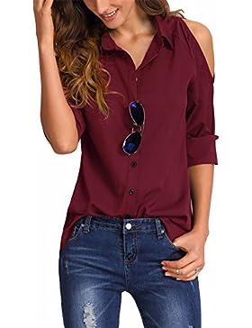 ELFIN® Damen Bluse Cold Shoulder Cut Out Hemdbluse Modern Loose Fit Langarm Oberteile