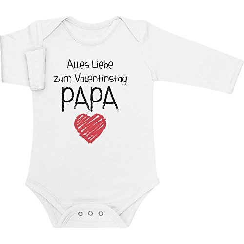 k für Papa - Alles Liebe Baby Langarm Body 6M Weiß (Süßes Paar Onesies)