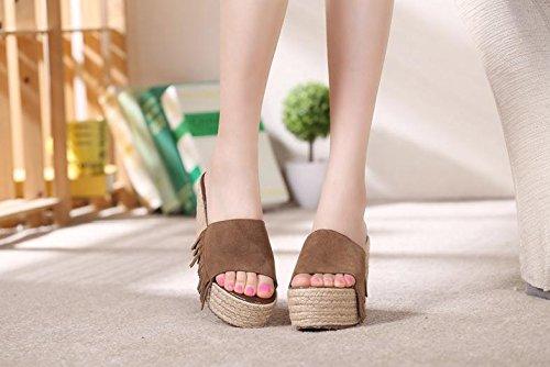 Feminino Socorrendo Sandálias Mulheres Impermeável De Matagal verão Fundo De Grosso Pequeno chinelos Calcanhar Sapatos Tamanho Palha Cunha Artesanal Malha Cáqui ggrqda