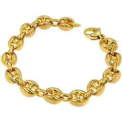 Bracelet Chaine lourd Grain de Café or doublé 10/000, 10mm longueur 21cm, femme homme collier bijoux cadeaux de italien usine tendenze