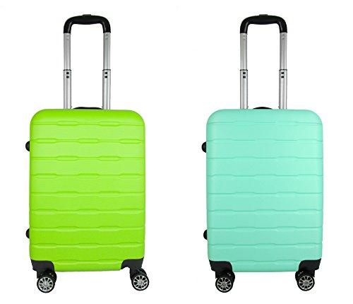 coppia Trolley Bagaglio a mano ABS rigido 8 ruote FG Travel green- turquaise