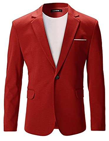 FLATSEVEN Mens Slim Fit Casual Premium Blazer Jacket Red, M (EU 50)
