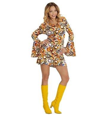 80er Kostüme 70 Jahre (Widmann Kleid Groovy Siebziger Jahre 70er 80er Trompetenärmel Minikleid Hippie Schlager (L,)