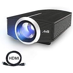 "Proyector LED, Artlii Mini Proyector Portatil 1600 Lúmens,800x480 WVGA,Consigue una Imagen de 100"", con Cable HDMI/AV Gratis, y USB/SD/ VGA Conexiones"