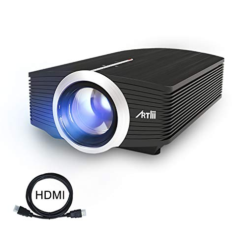 "Proyector LED, Artlii Mini Proyector Portatil 1600 Lúmens,800x480 WVGA,Consigue una Imagen de 100"", con Cable HDMI/ AV Gratis, y USB/ SD/ VGA Conexiones"