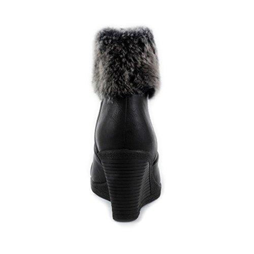 Lilley Bottes à semelles compensées pour femme avec bord en fourrure Noir Noir - noir