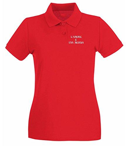 T-Shirtshock - Polo pour femme T0569 l amore e una merda fun cool geek Rouge
