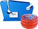 Beutel-Verschließer Beutelverschlussmaschine mit Schneidevorrichtung inkl. 3 Marken Beutel-Verschlussrollen rot