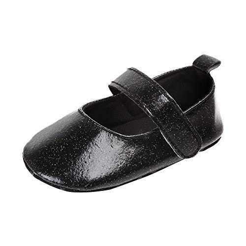 Chaussures pour Enfants Fille Mignonne bébé Nouveau-né bébé Chaussures à Fond Mou Chaussures de Mode Paillettes Occasionnels Chaussures Enfant en Bas âge incassables(Noir, 12)
