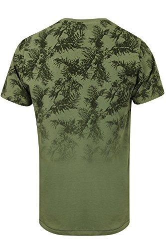 Herren Tokyo Laundry Will Hawaii Verblichen Blumenmuster Baumwolle T-shirt Olivine Khaki - Grün