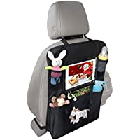Car Seat Organiser with Extra Large Touch Screen Tablet/iPad Holder by Safe&Care , Plenty of Storage,Easy to Install and Universal Fit, Use as Seat Back Protector, Kick Mat, Car Back Seat Organiser