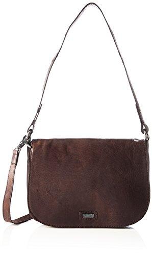Spikes & Sparrow Damen Flap Bag Umhängetasche, Braun (Dark Brown), 7x18x27 cm