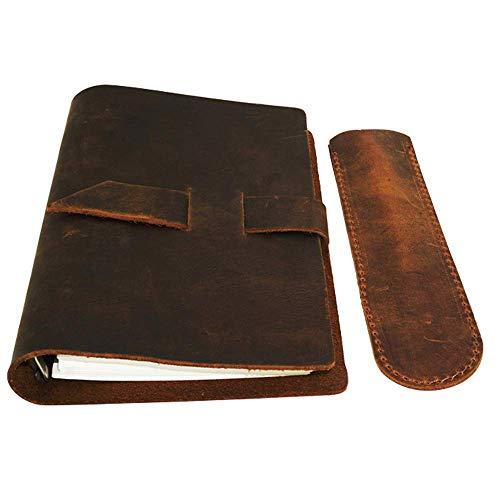 Daptsy Reisetagebuch, Leder, handgefertigt, Reisetagebuch, nachfüllbar, Geschenk für Männer und Frauen, perfekt zum Schreiben + Stifthalter 100 Blatt A6 Größe 20 x 13 cm, Braun