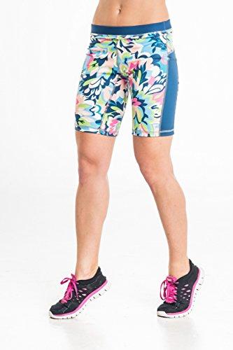 NESSI® ½ LEGGINGS PANTALONS court de Femmes (Courir Fitness Yoga Respirant) Blue Garden