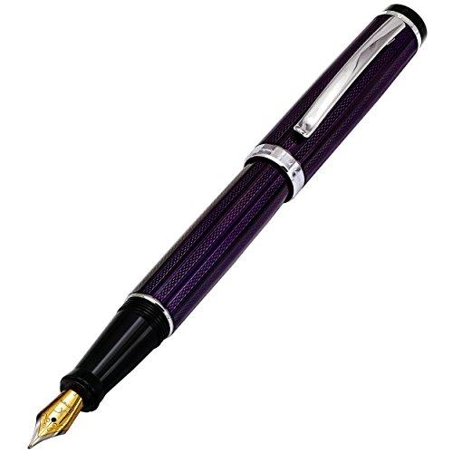 Xezo incognito Brass fine Fountain Pen in Purple Metallic color, diamond-cut, Serial, Platinum Plated Parts (incognito Purple F)