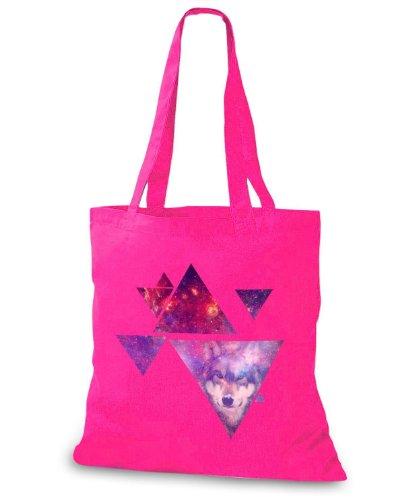 StyloBags Jutebeutel / Tasche Multiple Triangle Wolf Pink