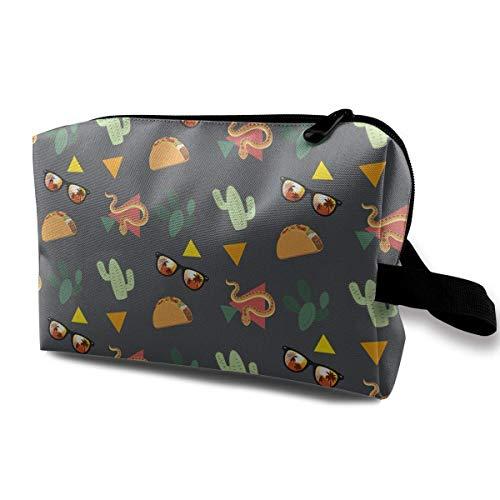 Mit Wristlet Kosmetiktaschen Snake Cactus und Sonnenbrillen Travel Portable Makeup Bag Zipper Wallet Hangbag