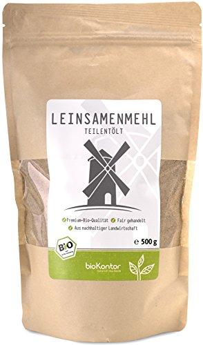 bioKontor // Leinsamenmehl, Leinmehl – teilentölt, low carb, Omega-3-Fettsäuren – 4×500 g – BIO (2000g)