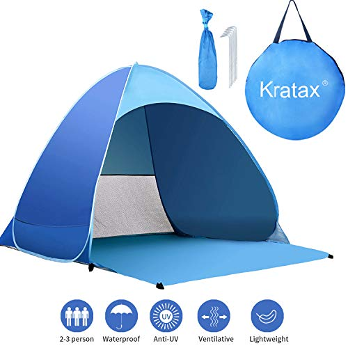 Kratax Pop Up Beach Tent for 1-3 Person,Rated UPF 50+ for UV Sun Protection,Waterproof Sun Shelters for Family Camping, Fishing, Picnic