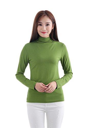 GladThink Femmes musulman Modal T-shirt Avec Manche longue Col Roulé Vert foncé