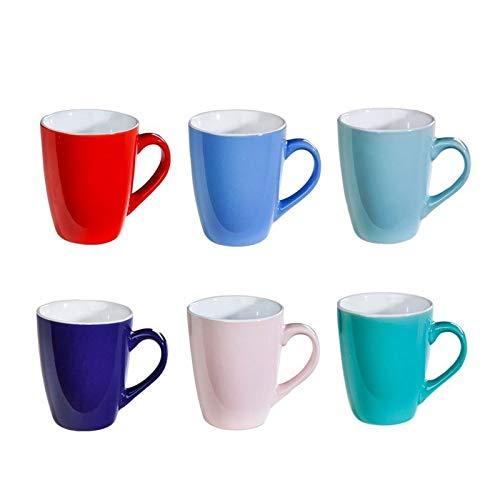 esto24 6 Bunte Kaffee-Becher Mug aus Keramik im Set für a 150ml in 6 schönen Pastell Farben. Genießen Sie Ihren Tee, Kaffe oder Cappuccino aus diesen modischen Kaffee-Tassen.