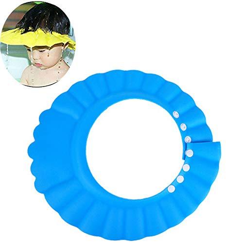 EXQUILEG Baby Badehaube Duschkappe Duschhaube für Kleinkinder,Verstellbare Weiche Shampoo-Augenschutz beim Haare waschen (Blau)