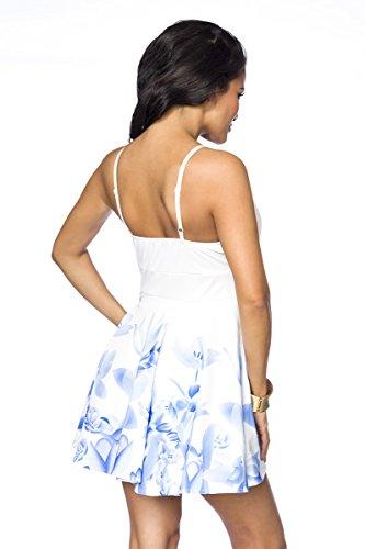 Sommerliches Minikleid mit extravaganten Ausschnitt Weiß/Blau