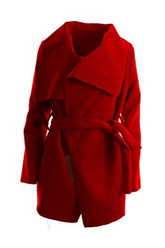 Damen Mantel Trenchcoat mit Gürtel One Extent Kurz (rot)