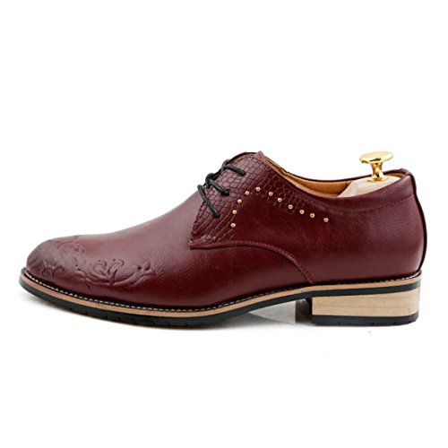 Men's Zapato Printed Leather Rubber Sole Formal Shoes red