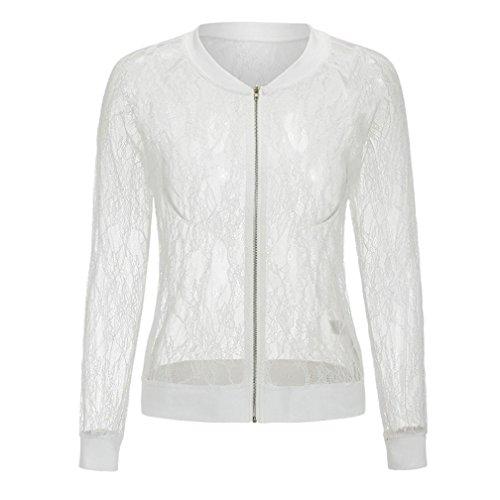 Blousons LILICAT Femmes Hollow Out Flower Manteau Veste Vintage Blazer Outwear Chemisier White