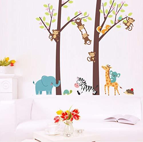 KUANGJING Niedlichen Tier AFFE Giraffe Zebra Baum Home DIY Wandaufkleber Dekoration Dschungel Wald Thema Geschenk Kinderzimmer Dekoration Aufkleber 30X90 cm