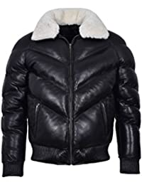 Smart Range Ace Men's Puffer Real Leather Jacket Black With White Real Sheep Hair On Collar Winter Warm