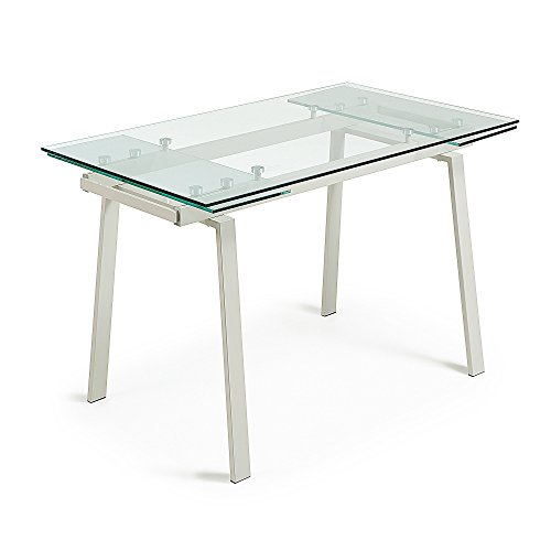 Kavehome Mesa Extensible Punch 140(200)x80, perla y cristal