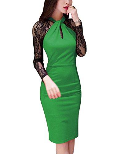 sourcingmap Damen Streifen Aus Spitze Neckholder Langärmelig Enganliegend Wiggle-Dress Grün