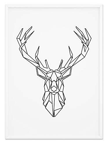 Fine Art Wandbild Origami Tier Poster - Schwarz & Weiß