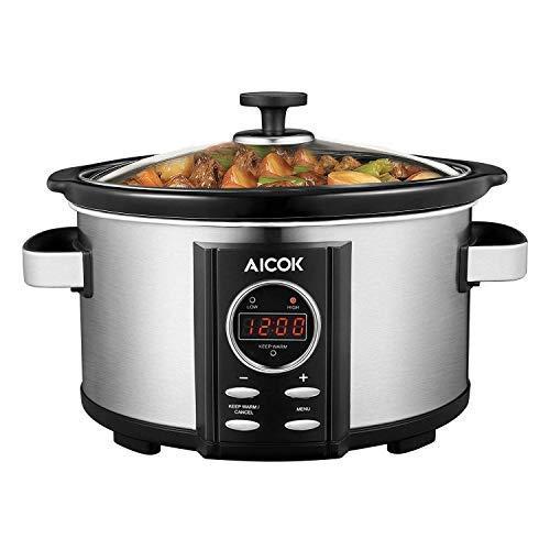 Mijoteuse Électrique Programmable Aicok Slow Cooker avec Couvercle en Verre Trempé et Pot Amovible en Céramique, Température et Durée Réglables, 3.5L, Noir