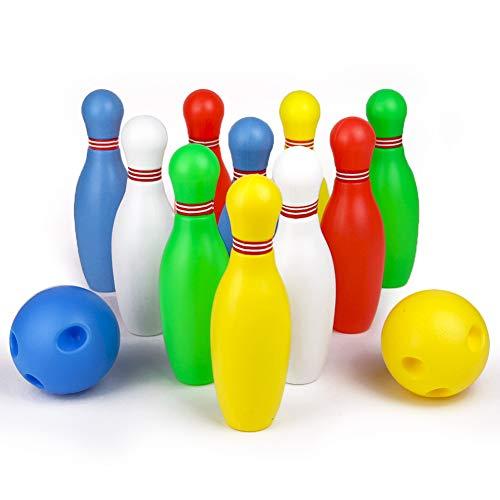 Bowling Kegelspiel Kinder Set Kegeln Spiel Bowlingkugel Boule-Spiele mit 2 Bälle und 10 Kegel Geschenk Spielzeug für Kinder Jungen Mädchen ab 3 4 5 6 Jahre (MEHRWEG)