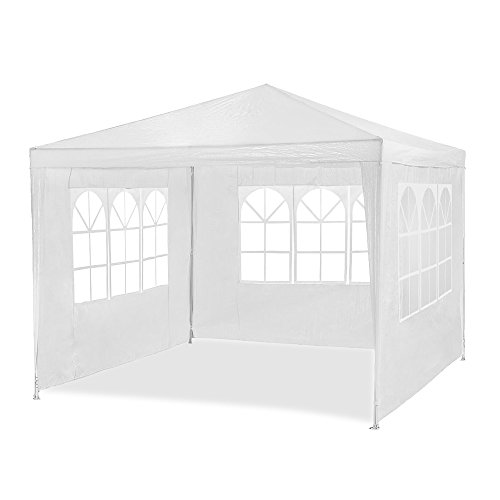 HG® 3x4m Festzelt Pavillon Weiß Gartenzelt Wasserdicht Bierzelt Stahlkonstruktion mit extra dickem Stahlgestänge Camping Strand geeignet komplett verschließbar