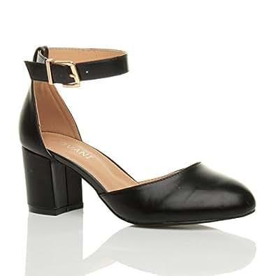 Womens Ladies Low Mid Block Heel Ankle Strap Mary Jane