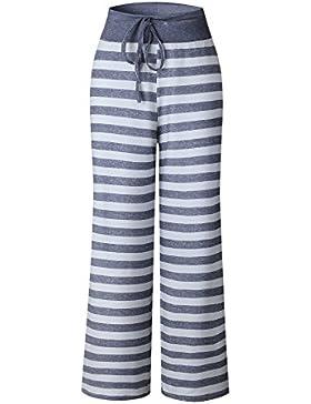 SYGoodBUY Pantalones Flojos del Verano de la Caída de Las Mujeres Pantalones Sueltos Rayas Impreso Pantalones...