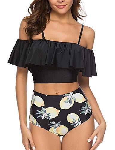 Voqeen Mujer Bikini con Cuello Halter Acolchado y Volante Acanalado de Cintura Alta y Traje de baño