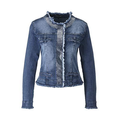 FASHION DEPARTMENT Eleganter Jeans Jacke Strass mit Used-Look mit angesagten Fransenabschlüssen (S) (Jacken Mit Strass-steinen)