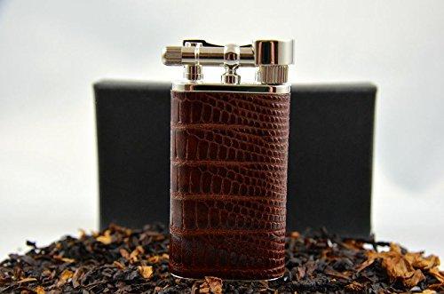 Pearl Pfeifen Feuerzeug Stanley PE 72980-70 geprägtes Rinderleder Echse