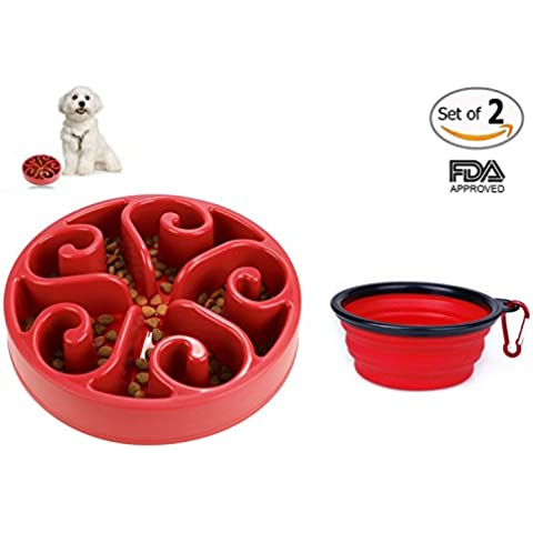 Motionjoy® 8.1 pulgadas Anti-tragando Cuenco con Comedero para Mascotas Bebedero Portatil de Viaje Plegable Cuenco del Perro & gato - FDA Aprobado (Rojo)