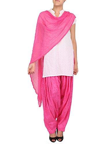 Womens Cottage Women's Pink Pure Cotton Jacquard Semi Patiala Salwar & Chiffon Dupatta Stole Set with Lace