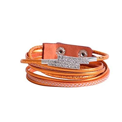 Frauen Armbänder Frauen Crystal Crushed Stone dünne Armband Kunstleder Multilayer Armband Manschette Wrap Armband Wrap Armbänder Snap Verschluss für Damen Teen Mädchen Schmuck Geschenke Frauen verstel -