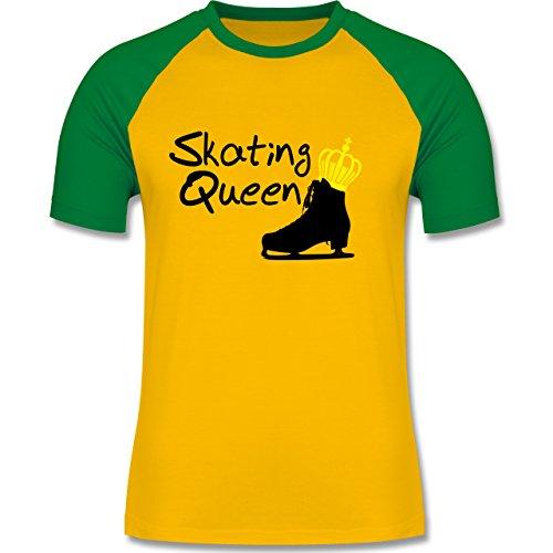Wintersport - Skating Queen - zweifarbiges Baseballshirt für Männer Gelb/Grün